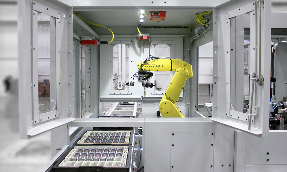 robot and conveyor automation for drilling machine